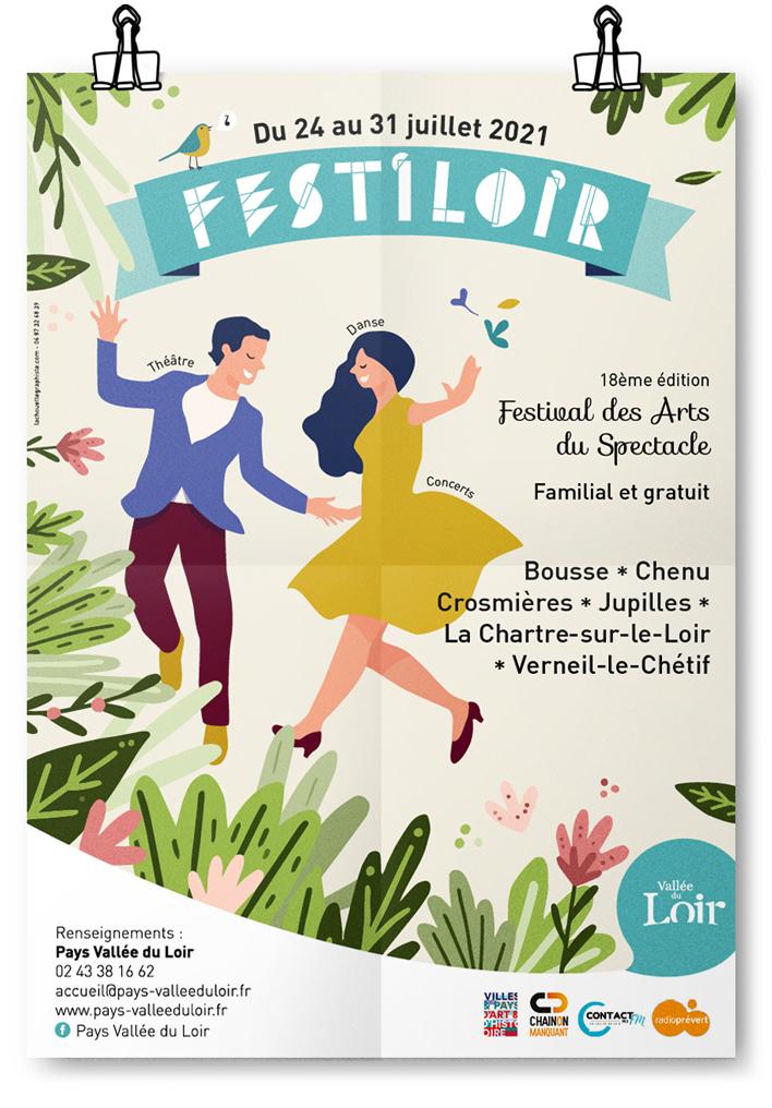 Création graphique. Affiche festival arts du spectacle Sarthe. Graphiste Freelance Le Mans Alençon