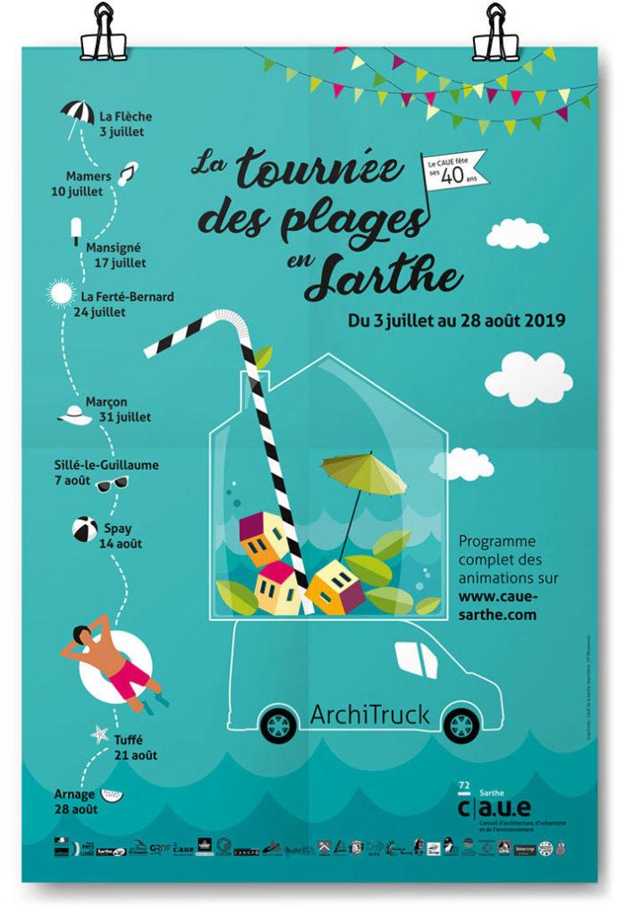 Création affiche événement festif Sarthe. Graphiste Freelance Le Mans Alençon