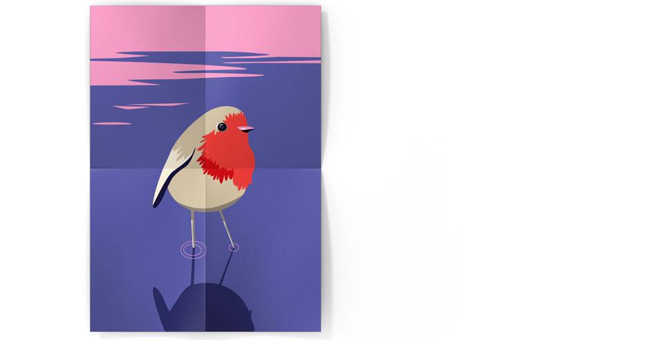 Mockup illustration rouge-gorge