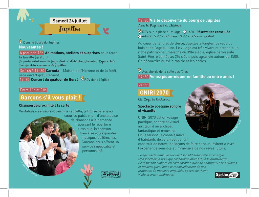 Création graphique. Programme festival arts du spectacle Sarthe. Graphiste Freelance Le Mans Alençon